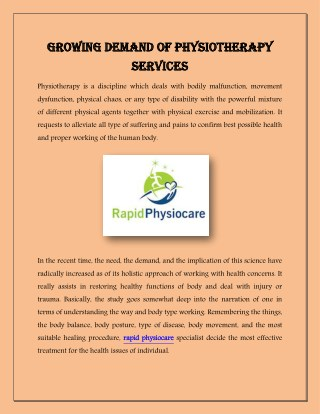 Growing Demand of Physiotherapy Services