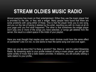 Stream oldies music radio