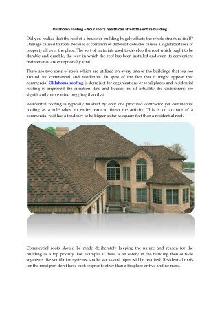 Oklahoma roofing – Your roofu's health can affect the entire building