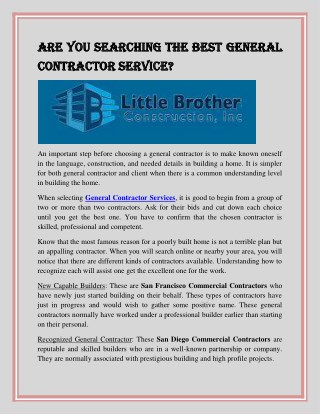 Are You Searching the Best General Contractor Service
