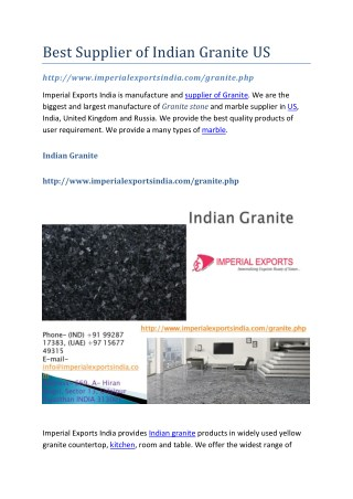 Best Supplier of Indian Granite US