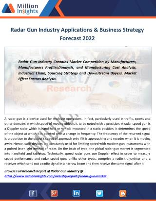 Radar Gun Market Growth Rate, Top Manufacturers, Outlook 2017-2022