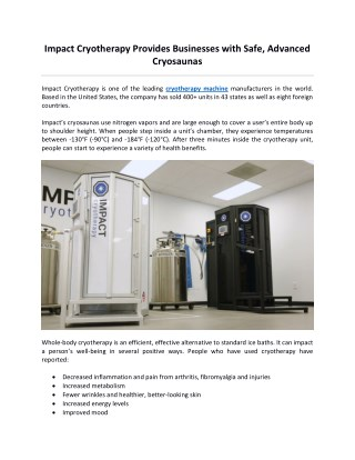 Impact Cryotherapy Provides Businesses with Safe, Advanced Cryosaunas