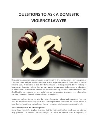 QUESTIONS TO ASK A DOMESTIC VIOLENCE LAWYER