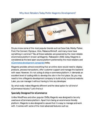 Why Most Retailers Today Prefer Magento Development?