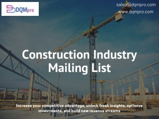 Construction Industry Mailing List | Construction Email List