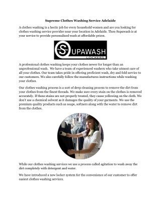 Supreme Clothes Washing Service Adelaide