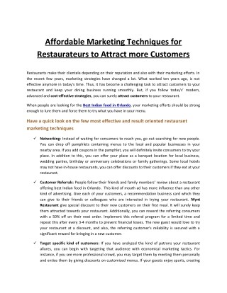 Affordable Marketing Techniques for Restaurateurs to Attract more Customers