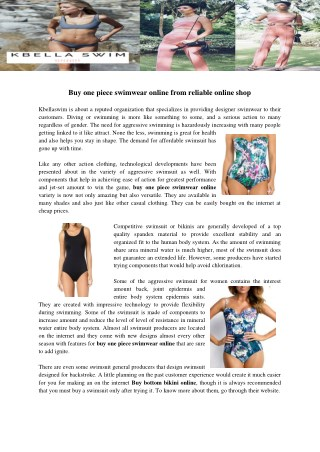 Buy one piece swimwear online