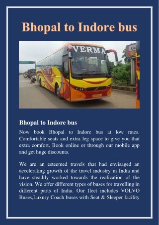 Bhopal to Indore bus