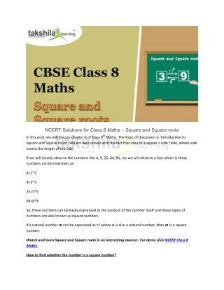 Square & Square roots-NCERT Solutions Class 8 Maths-Takshilalearning