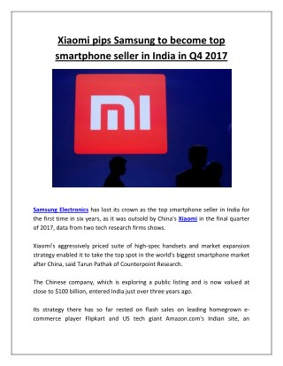 Xiaomi Pips Samsung to Become Top Smartphone Seller in India in Q4 2017