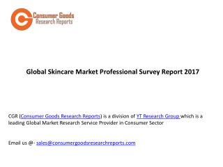 Global Skincare Market Professional Survey Report 2017