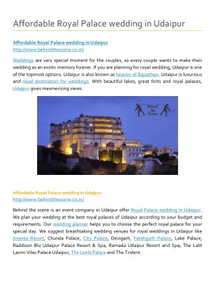 Affordable Royal Palace wedding in Udaipur