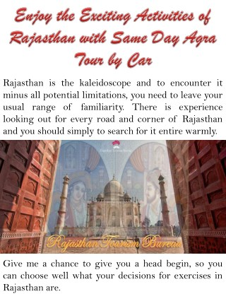 Enjoy the Exciting Activities of Rajasthan with Same Day Agra Tour by Car