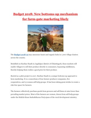 Budget 2018: New bottoms-up mechanism for farm-gate marketing likely
