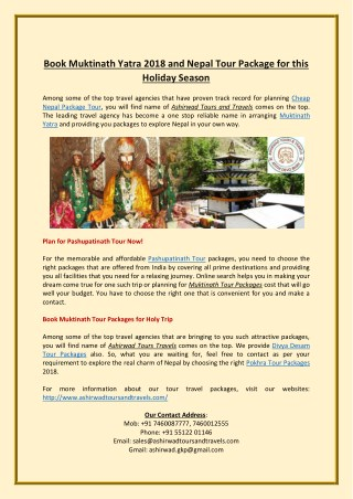 Book Muktinath Yatra 2018 and Nepal Tour Package for this Holiday Season