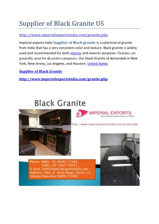 Supplier of Black Granite US