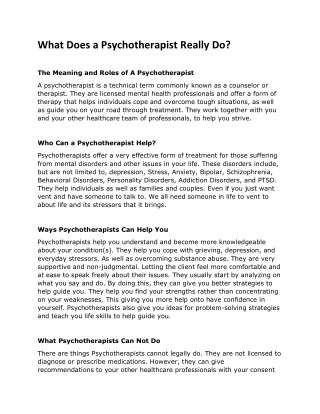 What Does a Psychotherapist Really Do?