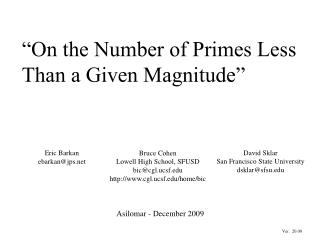 """On the Number of Primes Less Than a Given Magnitude"""