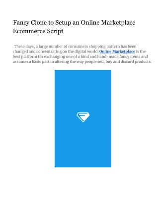 Fancy Clone to Setup an Online Marketplace Ecommerce Script