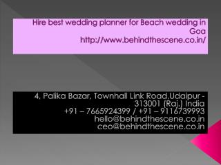 Hire best wedding planner for Beach wedding in Goa