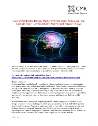 Neurorehabilitation Devices Market Overview – Key Futuristic Trends and Opportunities 2025