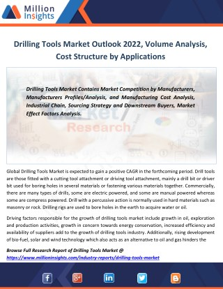 Drilling Tools Market Manufacturing Cost Structure, Price, Size, Sales From 2017-2022