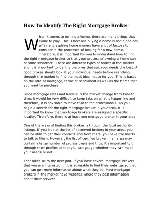 How To Identify The Right Mortgage Broker