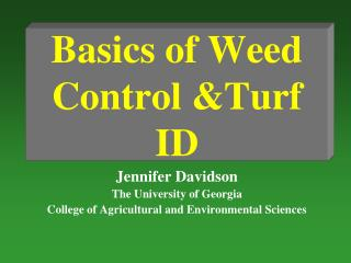 Basics of Weed Control &Turf ID