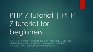 PHP 7 tutorial | PHP 7 tutorial for beginners - phptpoint