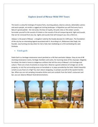 Explore Jewel of Mewar With VNV Tours