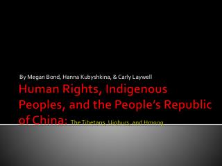 Human Rights, Indigenous Peoples, and the People's Republic of China:  The Tibetans, Uighurs, and Hmong