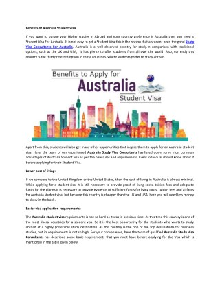 Benefits of Australia Student Visa