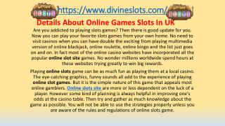 Details About Online Games Slots In UK