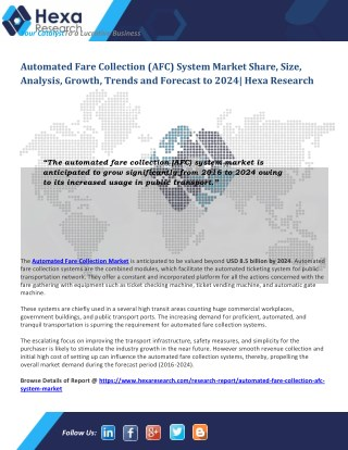 Automated Fare Collection (AFC) Market is Likely to Grow Significantly by 2024