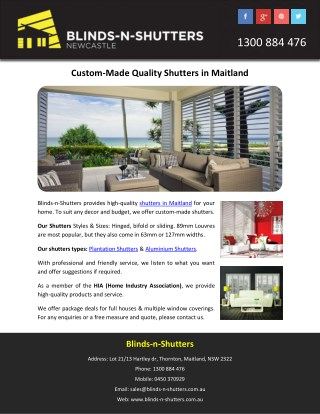 Custom-Made Quality Shutters in Maitland