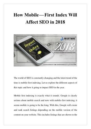 How Mobile - First Index Will Affect SEO in 2018
