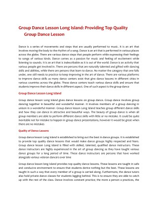 Group Dance Lessons Long Island