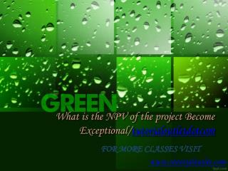 What is the NPV of the project Become Exceptional/tutorialoutletdotcom