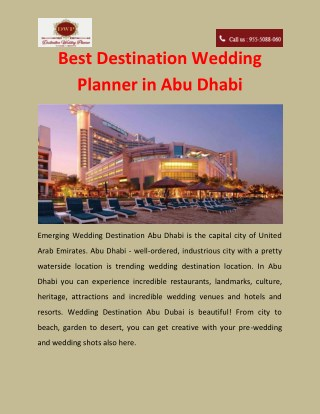 Best Destination Wedding Planner in Abu Dhabi