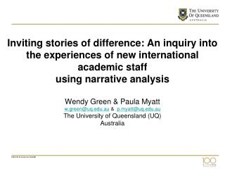 Inviting stories of difference: An inquiry into the experiences of new international academic staff using narrative anal