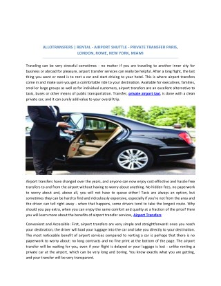 Allotransfers | Rental - Airport Shuttle - Private Transfer Paris, Londres, Rome, New-York, Miami…