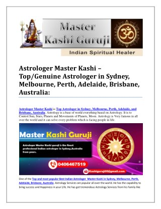 Astrologer Master Kashi – Top/Genuine Astrologer in Sydney, Melbourne, Perth, Adelaide, Brisbane, Australia: