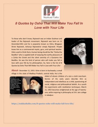 Eight Quotes By Osho That Will Make You Fall In Love with Your Life