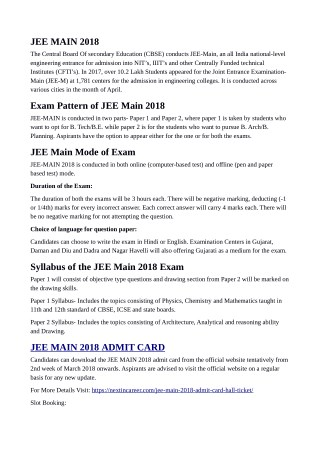 JEE Main 2018 Admit Card / Hall Ticket