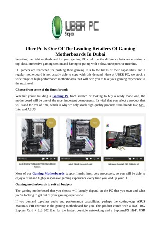 Uber Pc Is One Of The Leading Retailers Of Gaming Motherboards In Dubai