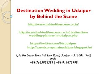 Destination Wedding in Udaipur by Behind the Scene