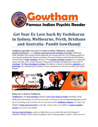 Get Your Ex Love back By Vashikaran in Sydney, Melbourne, Perth, Brisbane and Australia- Pandit Gowthamji