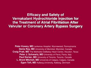 Efficacy and Safety of  Vernakalant Hydrochloride Injection for  the Treatment of Atrial Fibrillation After Valvular or